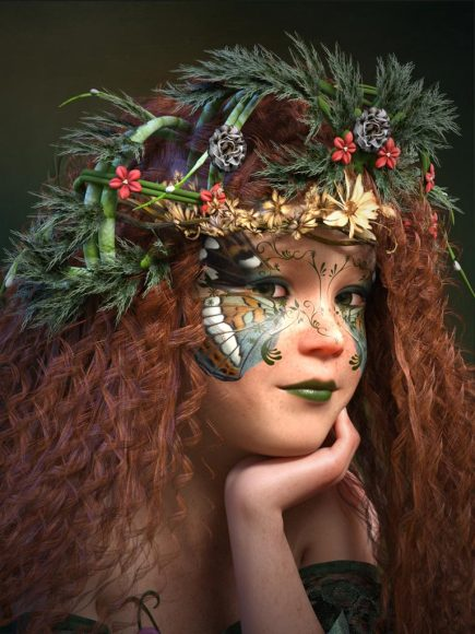 Portrait of a very cute pixie girl with butterfly makeup and an intricate nature headdress.