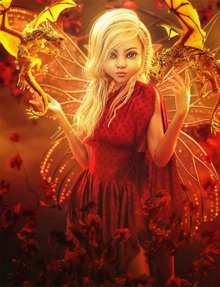 Blonde Fairy Girl with golden wings and two golden dragons. Fantasy woman art, Daz Studio Iray image.