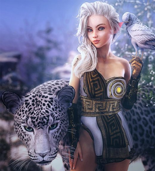 Cute white elf girl with a falcon bird perched on her hand and a snow leopard standing beside her. Winter environment. Fantasy woman art, Daz Studio Iray image.