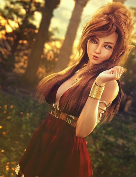 Brown haired elf girl in red greek dress standing in front of ancient ruins. Fantasy woman art. Daz Studio Iray image.