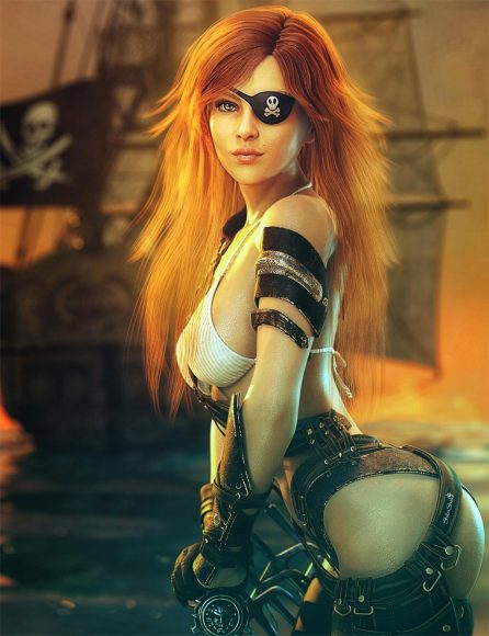 Sexy red-haired pirate girl with eye-patch and swords. She is standing in front of a pirate ship in the sea with a sunset background sky. Fantasy woman art. Daz Studio Iray image.