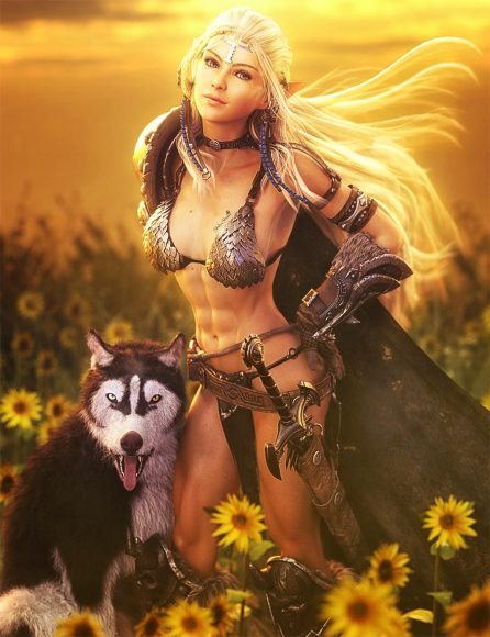 White haired elf girl with her Husky dog. She is smiling and standing in a field of sunflowers. Fantasy woman art. Daz Studio Iray image.