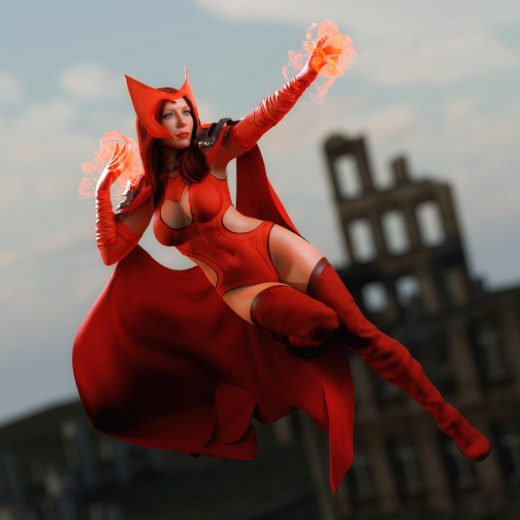 My character Lyzia as the Scarlet Witch, Created in Daz Studio 4.12 pro/Iray and Photoshop. Qualifying Items: PTF Magic! Shaders and Wearables for Genesis 3 and 8 by PixelTizzyFit
